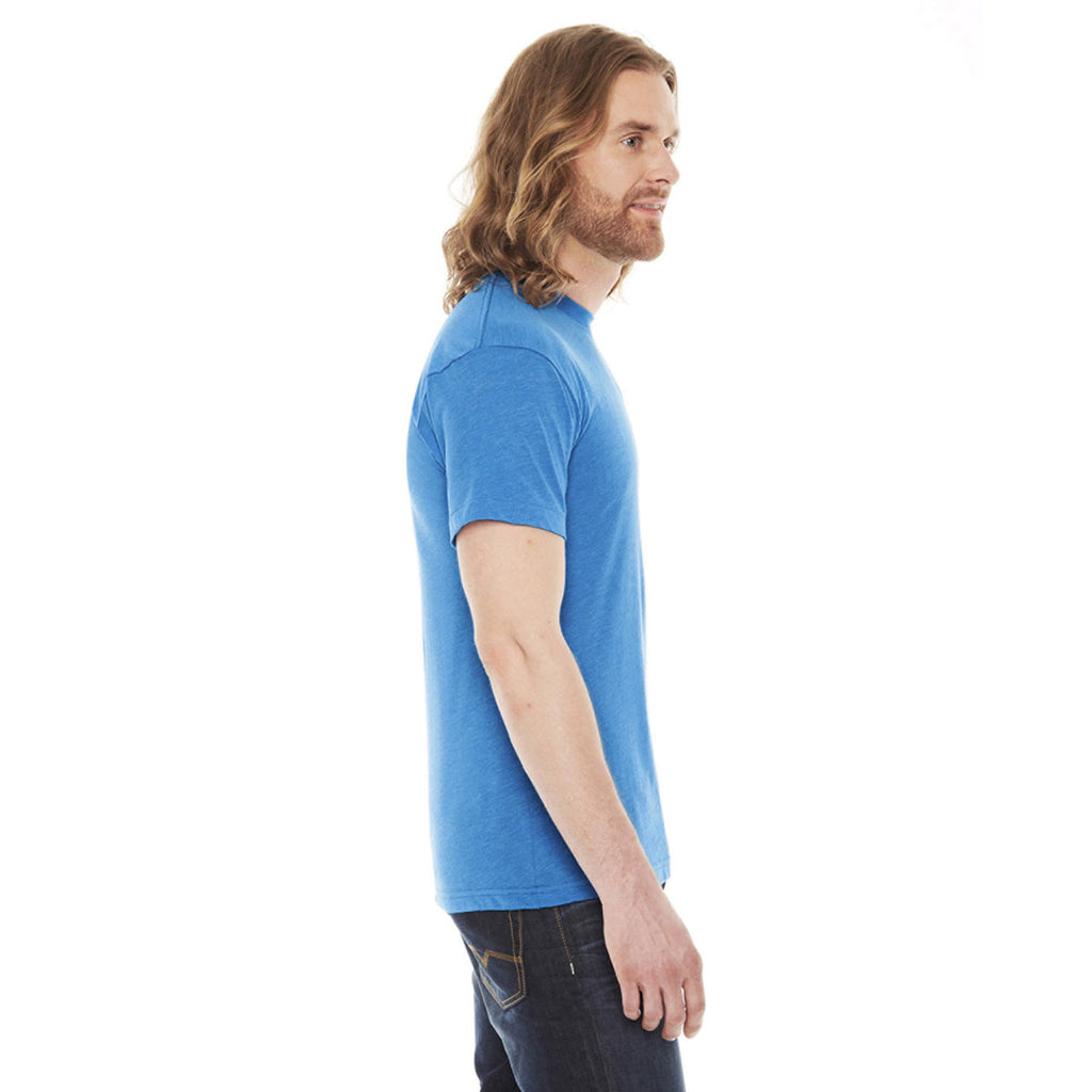 American Apparel Unisex Neon Heather Blue Poly-Cotton Short Sleeve Crewneck T-Shirt