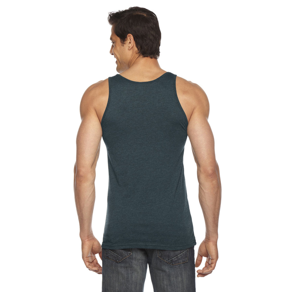 American Apparel Unisex Black Aqua Poly-Cotton Tank