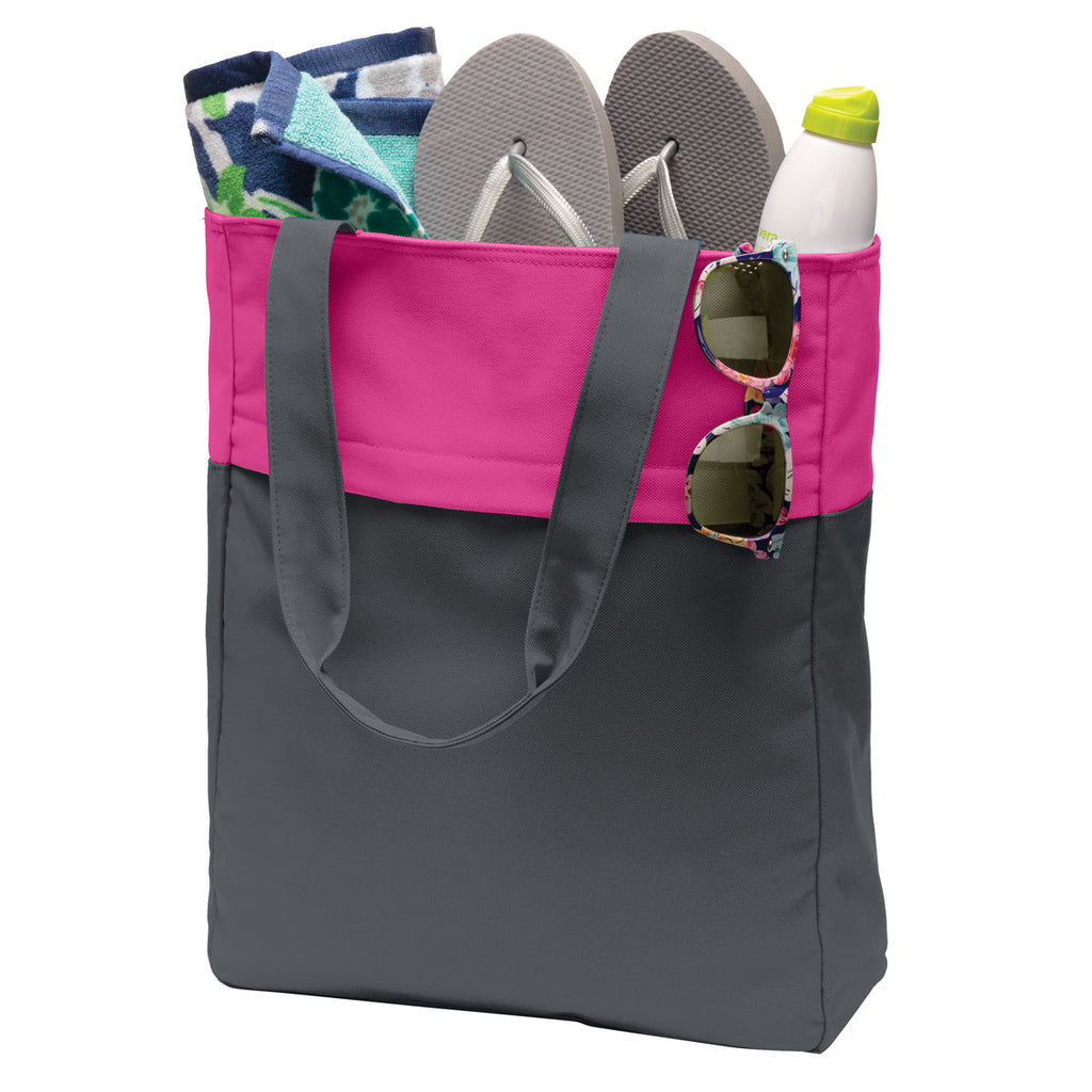 Port Authority Magnet Grey/ Tropical Pink Colorblock Tote