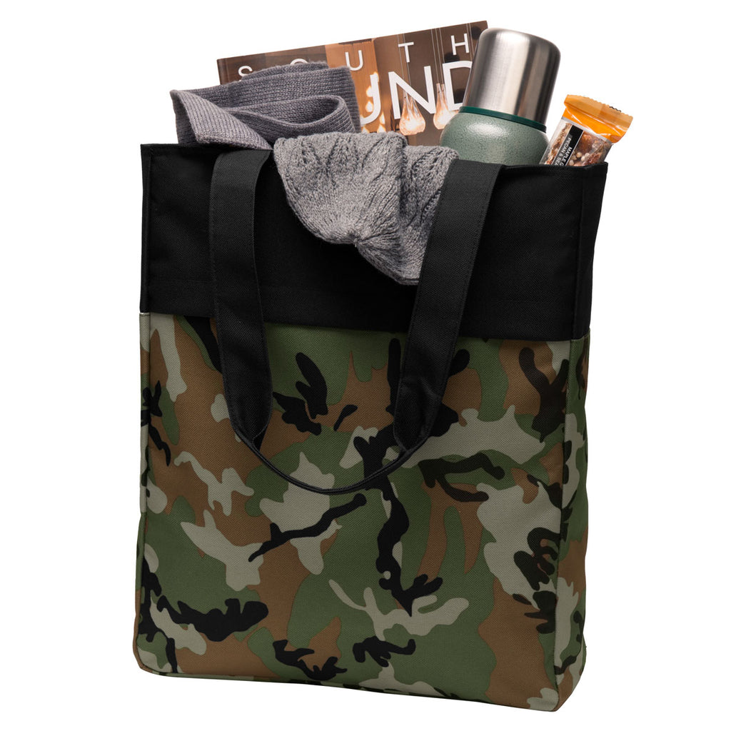 Port Authority Military Camo/ Black Colorblock Tote