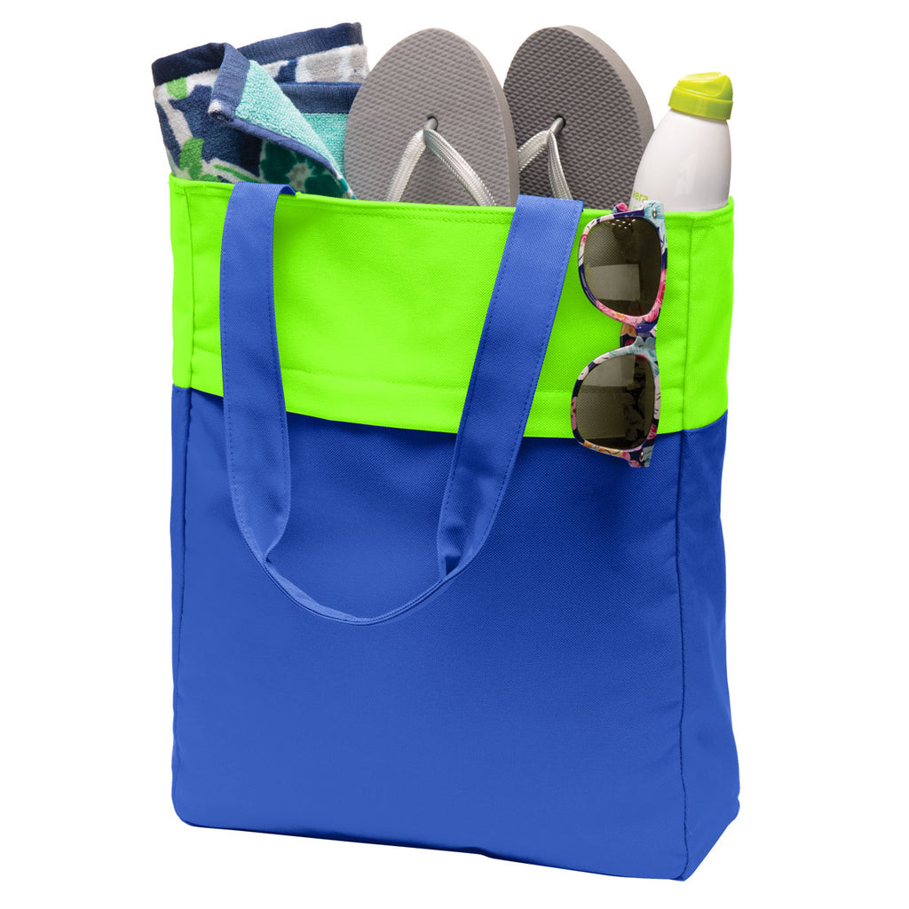 Port Authority Shock Blue/ Neon Green Colorblock Tote