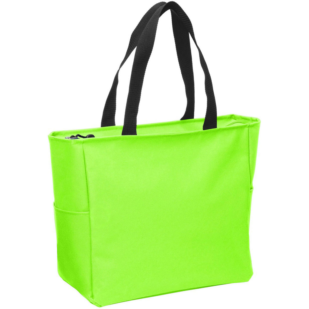 Port Authority Neon Green Essential Zip Tote
