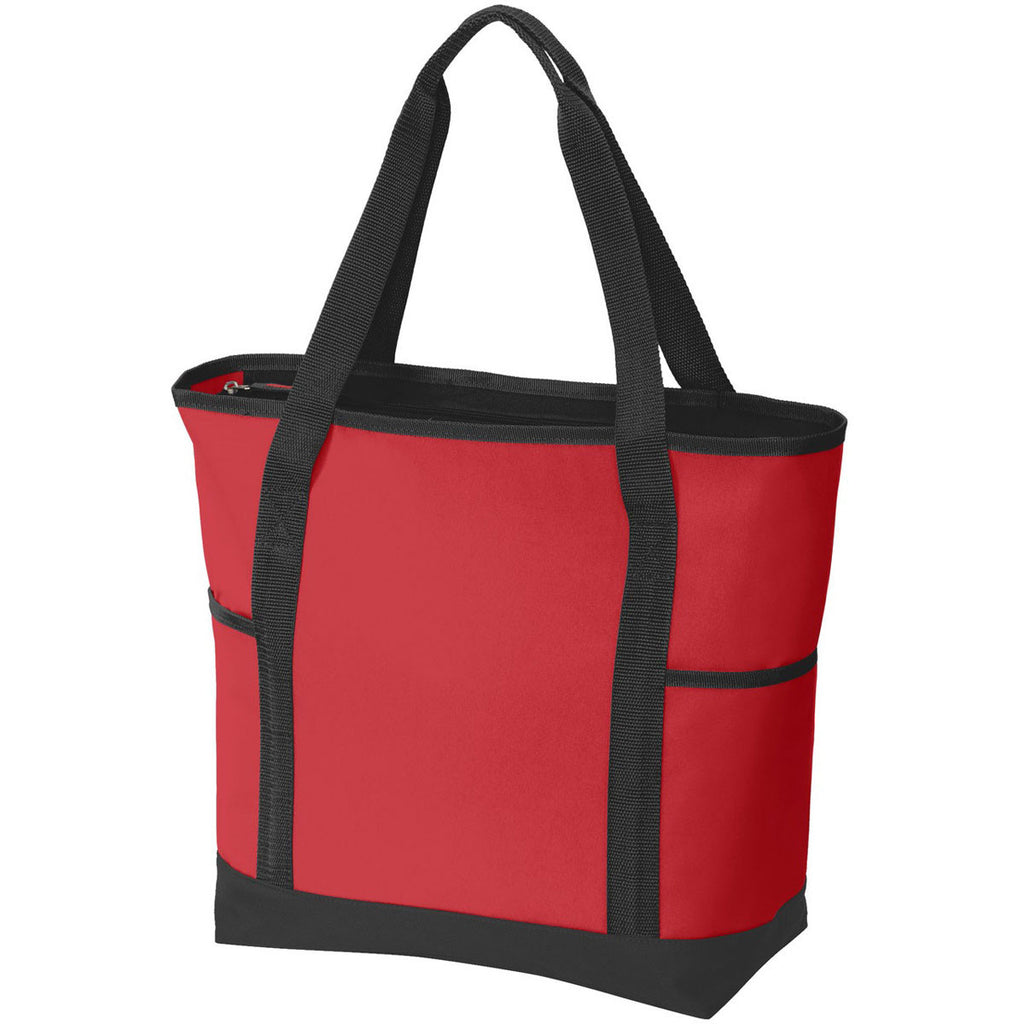 Port Authority Chili Red/Black On-The-Go Tote