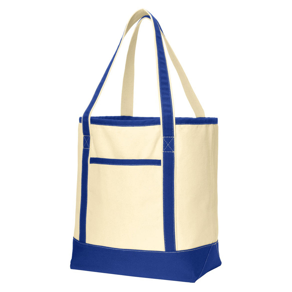 Port Authority Natural/True Royal Large Cotton Canvas Boat Tote
