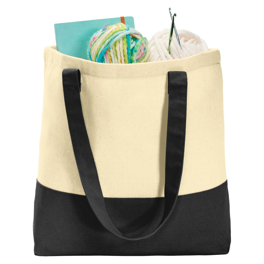 Port Authority Natural/Black Colorblock Cotton Tote