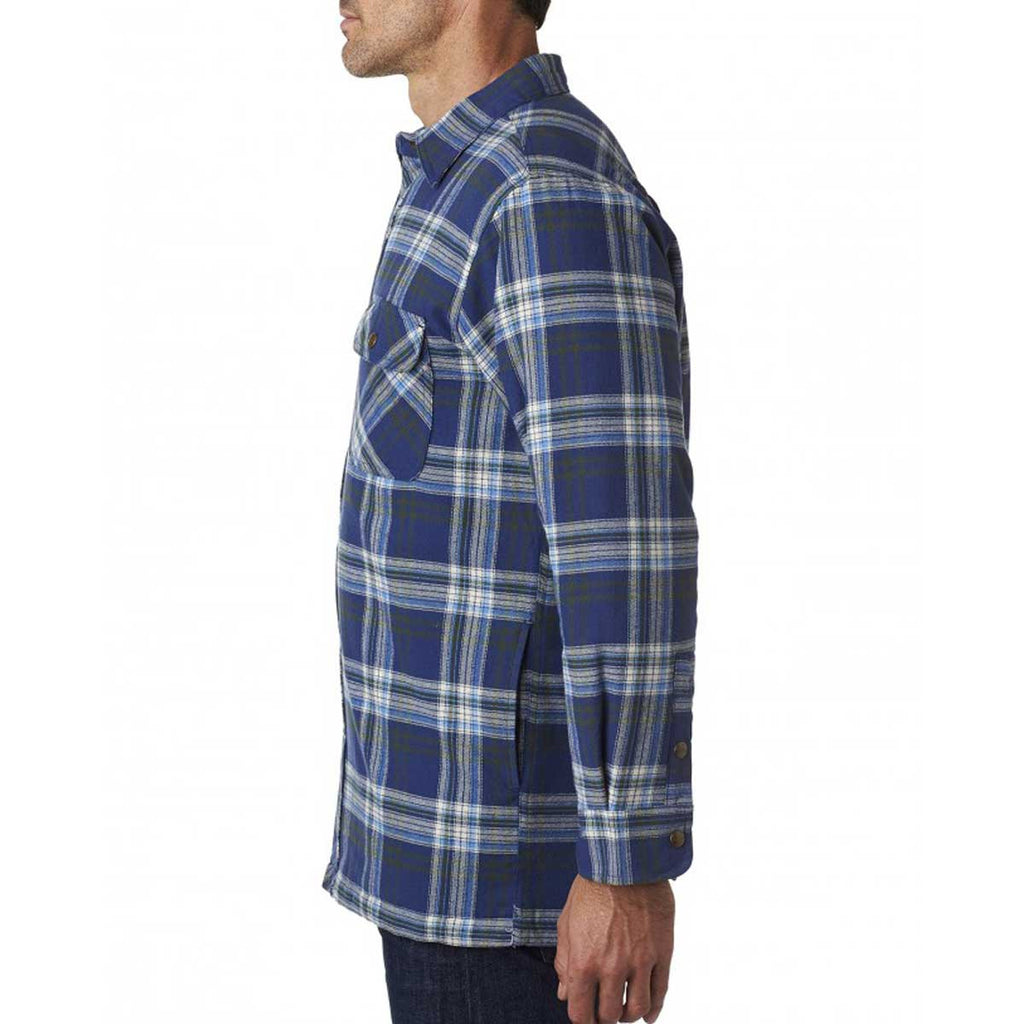 Backpacker Men's Blue Green Flannel Shirt Jacket with Quilted Lining