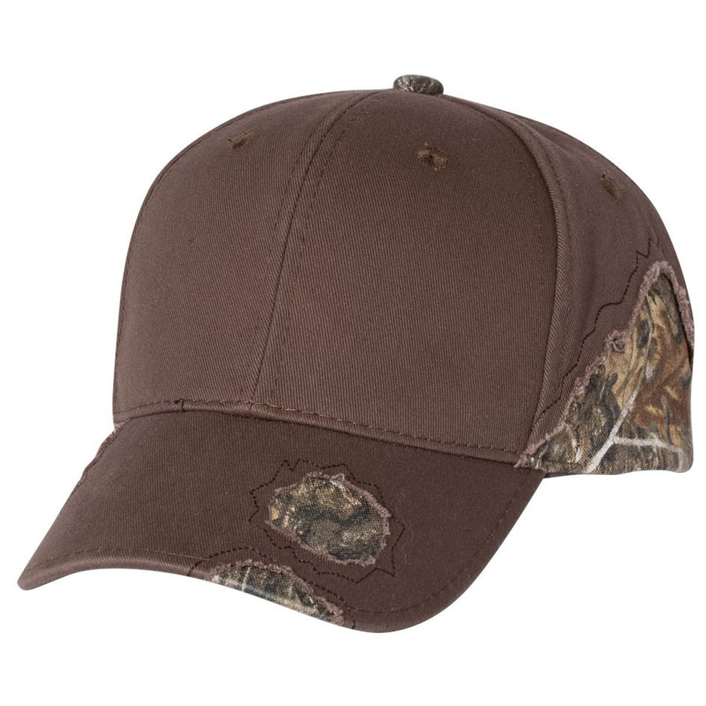 f74a0a91121 Outdoor Cap Brown Realtree Edge Frayed Camouflage Cap. ADD YOUR LOGO