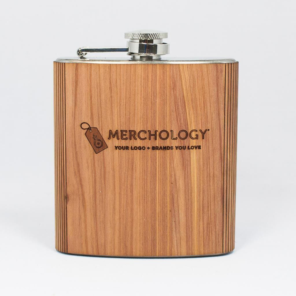 Woodchuck USA Mahogany Wood Flask 6 oz