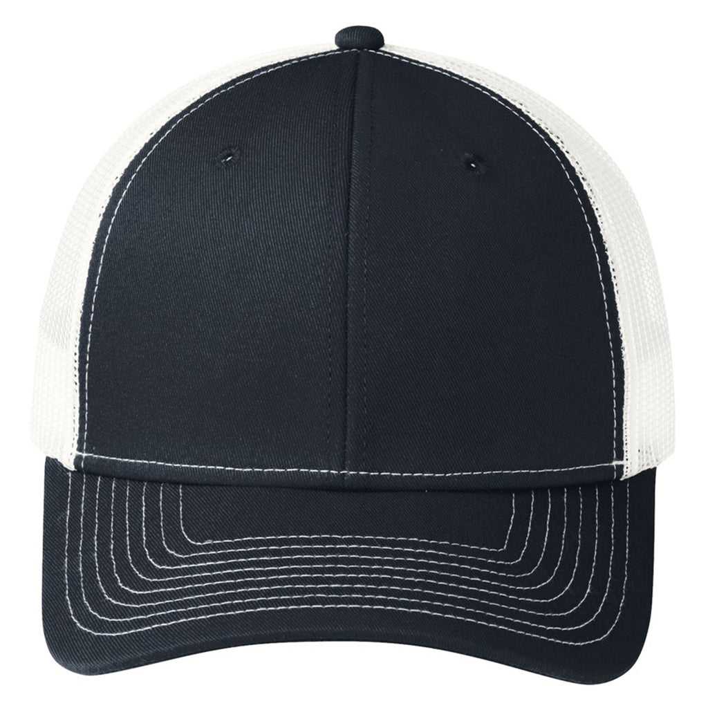 Port Authority Rich Navy/White Snapback Trucker Cap