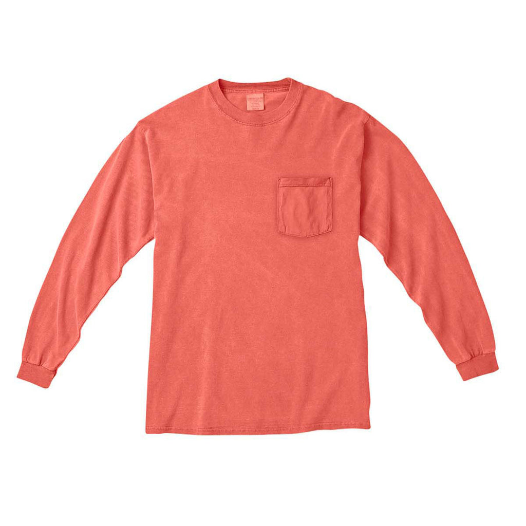 598b2f66c189c9 Comfort Colors Men s Bright Salmon 6.1 Oz. Long-Sleeve Pocket T-Shirt