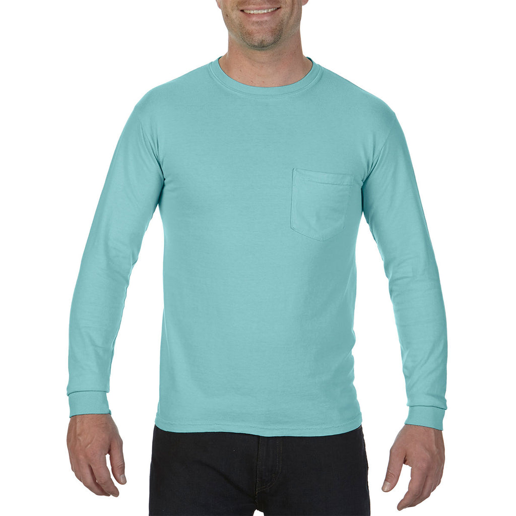 f428a4ff Comfort Colors Men's Chalky Mint 6.1 Oz. Long-Sleeve Pocket T-Shirt. ADD  YOUR LOGO