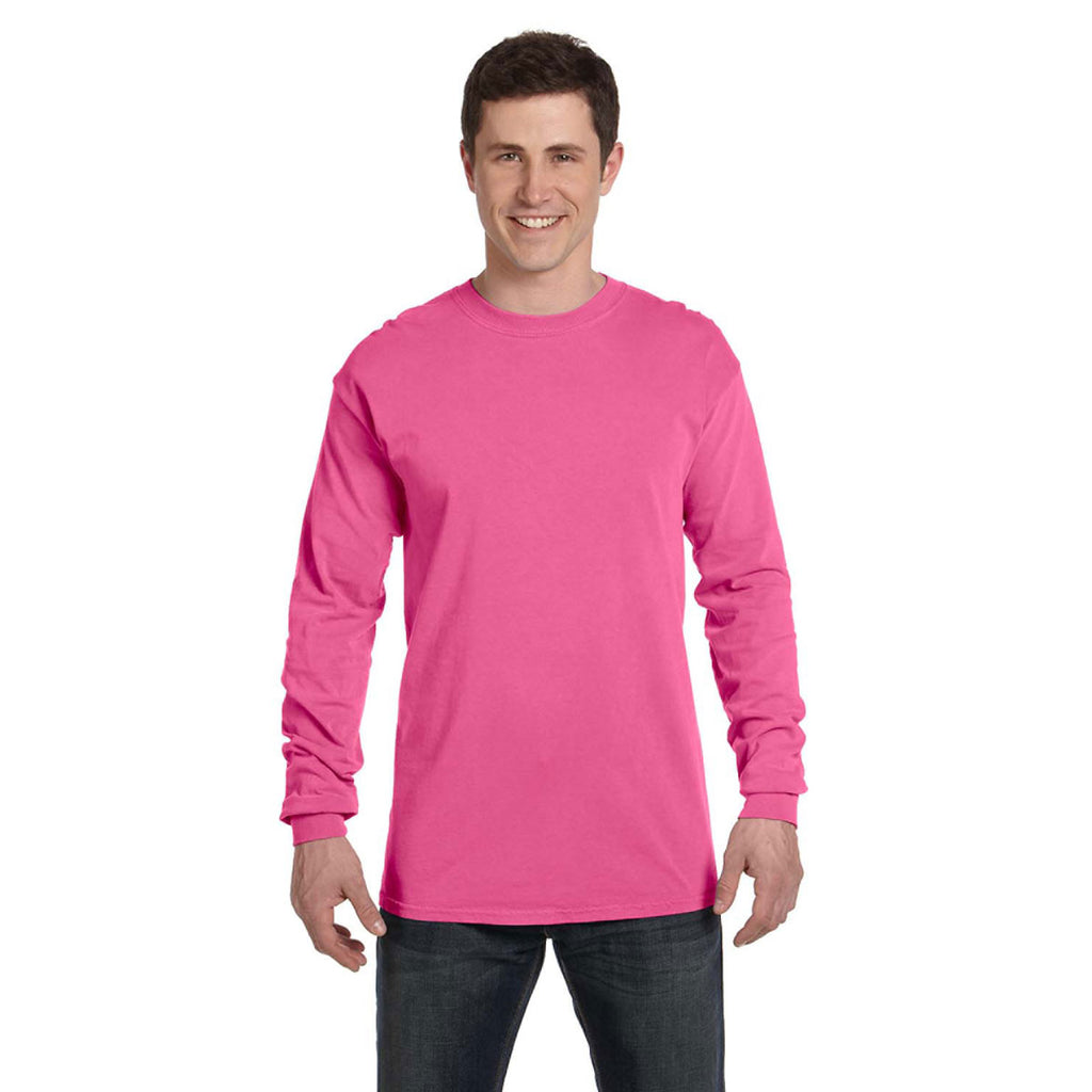 e7d7add1 Comfort Colors Men's Neon Pink 6.1 Oz. Long-Sleeve T-Shirt