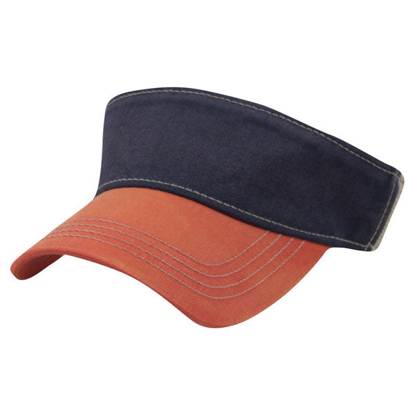 AHEAD Navy/University Orange/Tan 3-Tone Tea Stain Visor