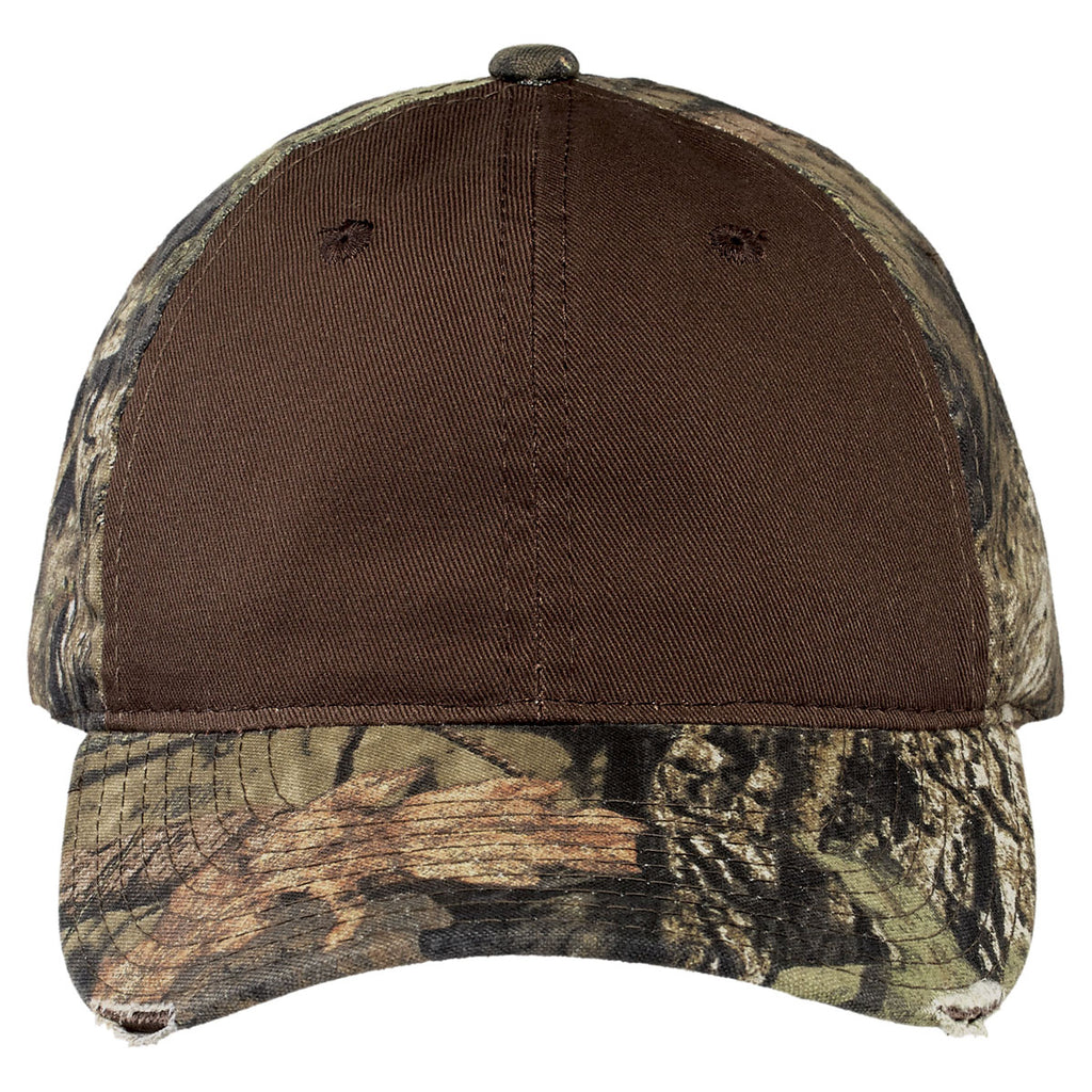 Port Authority Mossy Oak Break-Up Country/Chocolate Camo Cap with Contrast Front Panel