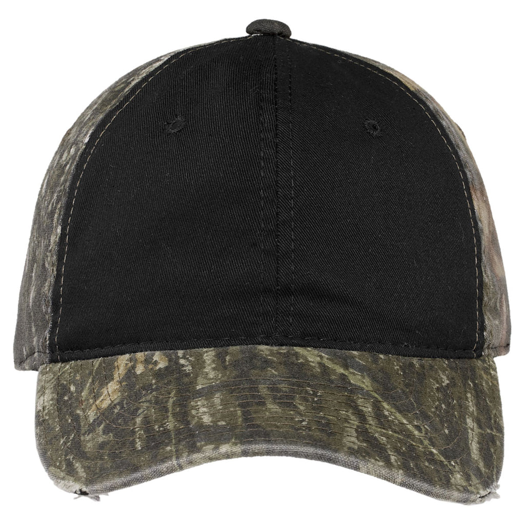 Port Authority Mossy Oak New Break-Up/Black Camo Cap with Contrast Front Panel