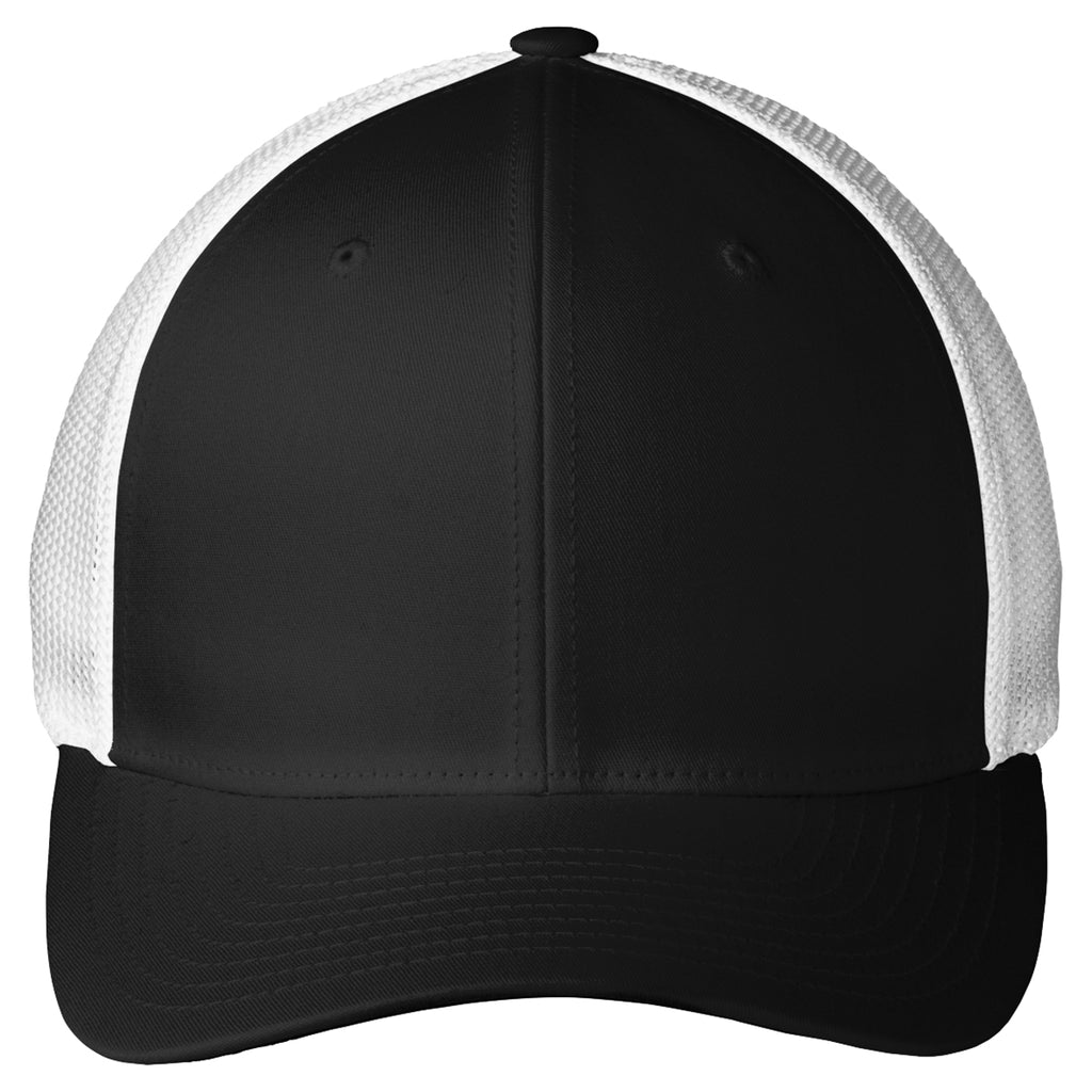 Port Authority Black/White Mesh Back Cap