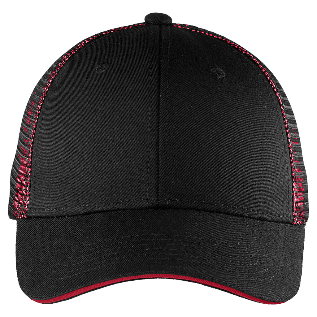 Port Authority Black/ Red Double Mesh Snapback Sandwich Bill Cap