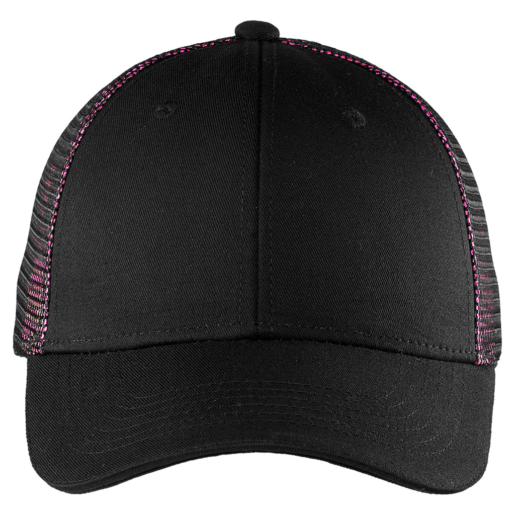 Port Authority Black/ Shock Pink Double Mesh Snapback Sandwich Bill Cap