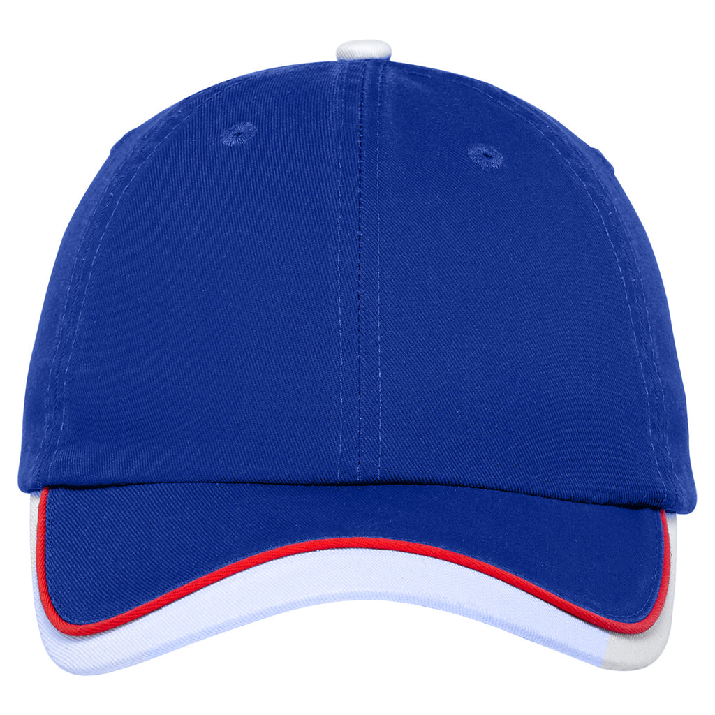 Port Authority Royal/ White/ Red Double Visor Cap