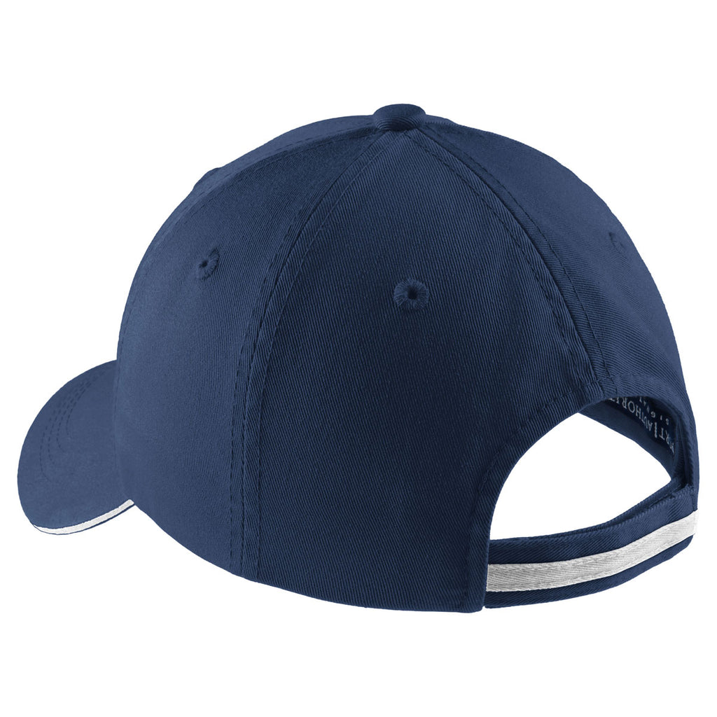 Port Authority Ensign Blue/White Sandwich Bill Cap with Striped Closure