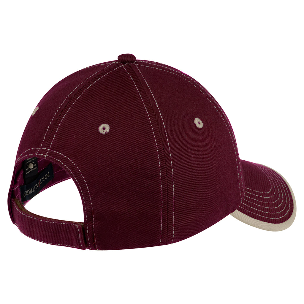 Port Authority Maroon/Stone Vintage Washed Contrast Stitch Cap