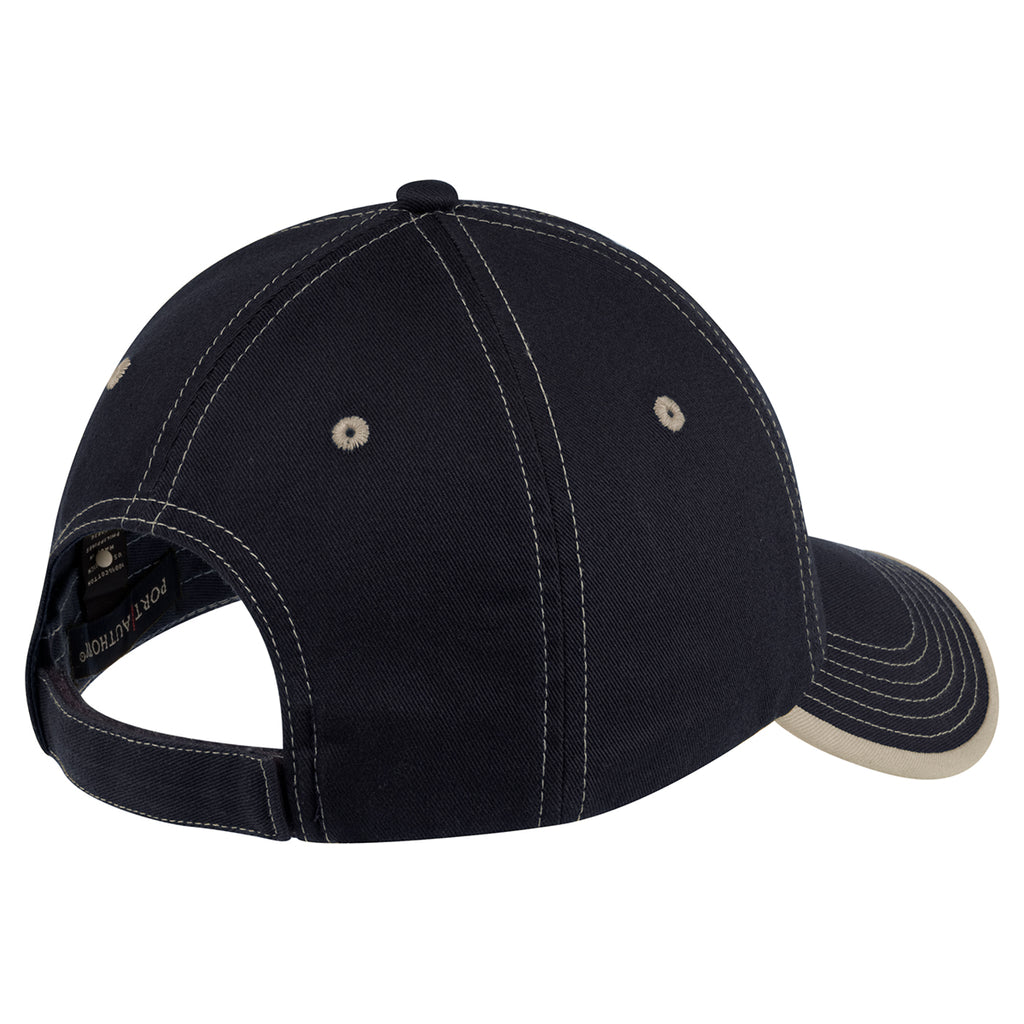 Port Authority Navy/Light Sand Vintage Washed Contrast Stitch Cap