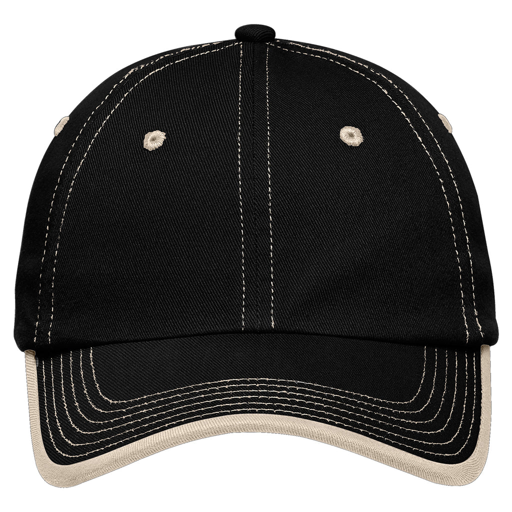 Port Authority Black/Stone Vintage Washed Contrast Stitch Cap