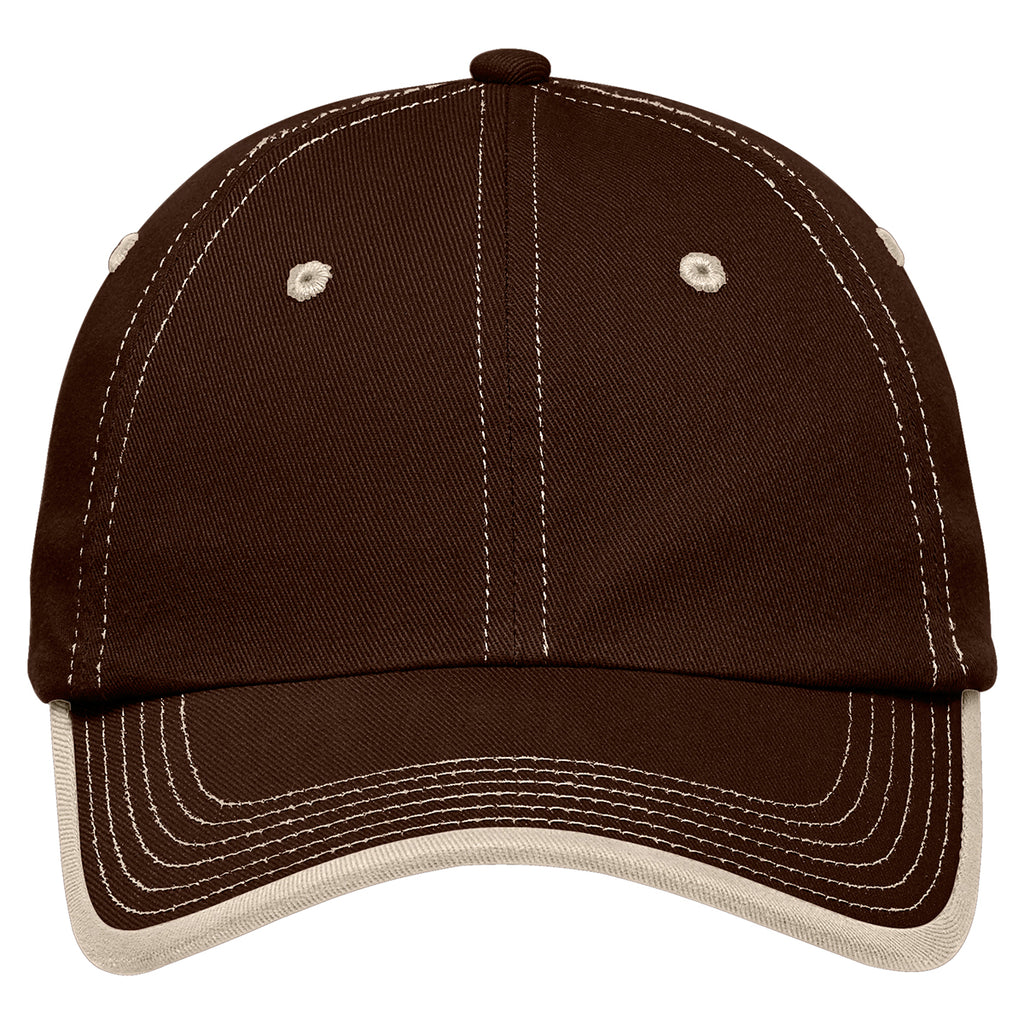 Port Authority Brown/Stone Vintage Washed Contrast Stitch Cap