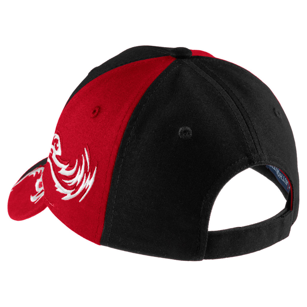 Port Authority Black/Red/White Colorblock Racing Cap with Flames