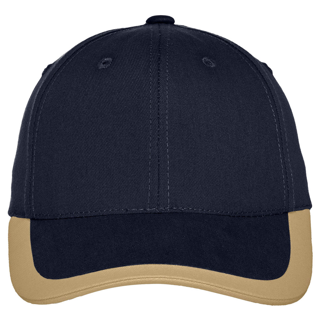 Port Authority Navy/Khaki Contrast Stripe Sandwich Bill Cap