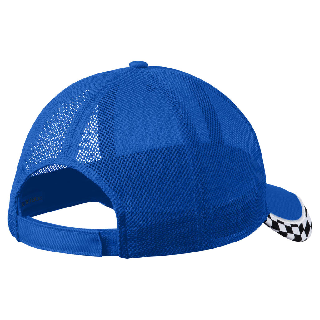 Port Authority Cobalt Blue Checkered Racing Mesh Back Cap