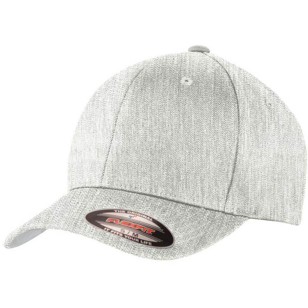 2e21e0f158a Port Authority Light Heather Grey Flexfit Wool Blend Cap. ADD YOUR LOGO