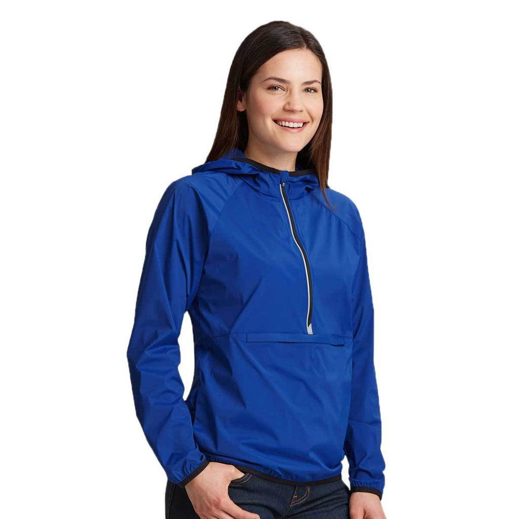 Cutter & Buck Women's Tour Blue Breaker Half Zip Hooded Popover