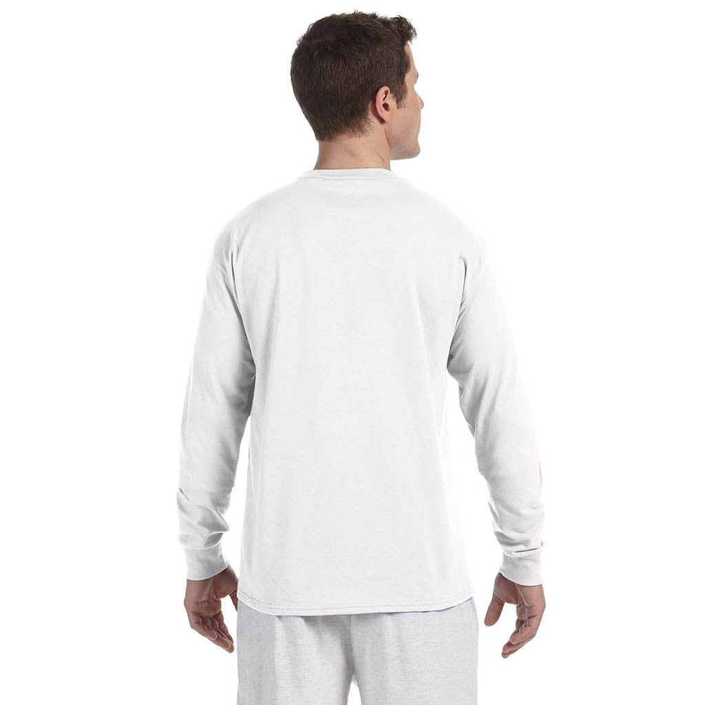 Champion Men's 5.2 oz White L/S Tagless T-Shirt