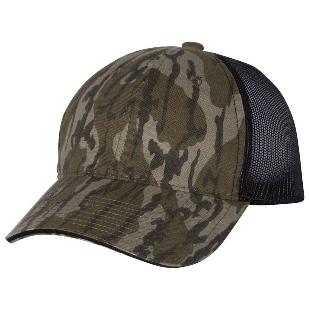 Outdoor Cap Mossy Oak Bottomland Black Washed Brushed Mesh Cap. ADD YOUR  LOGO 69a2bcf5838