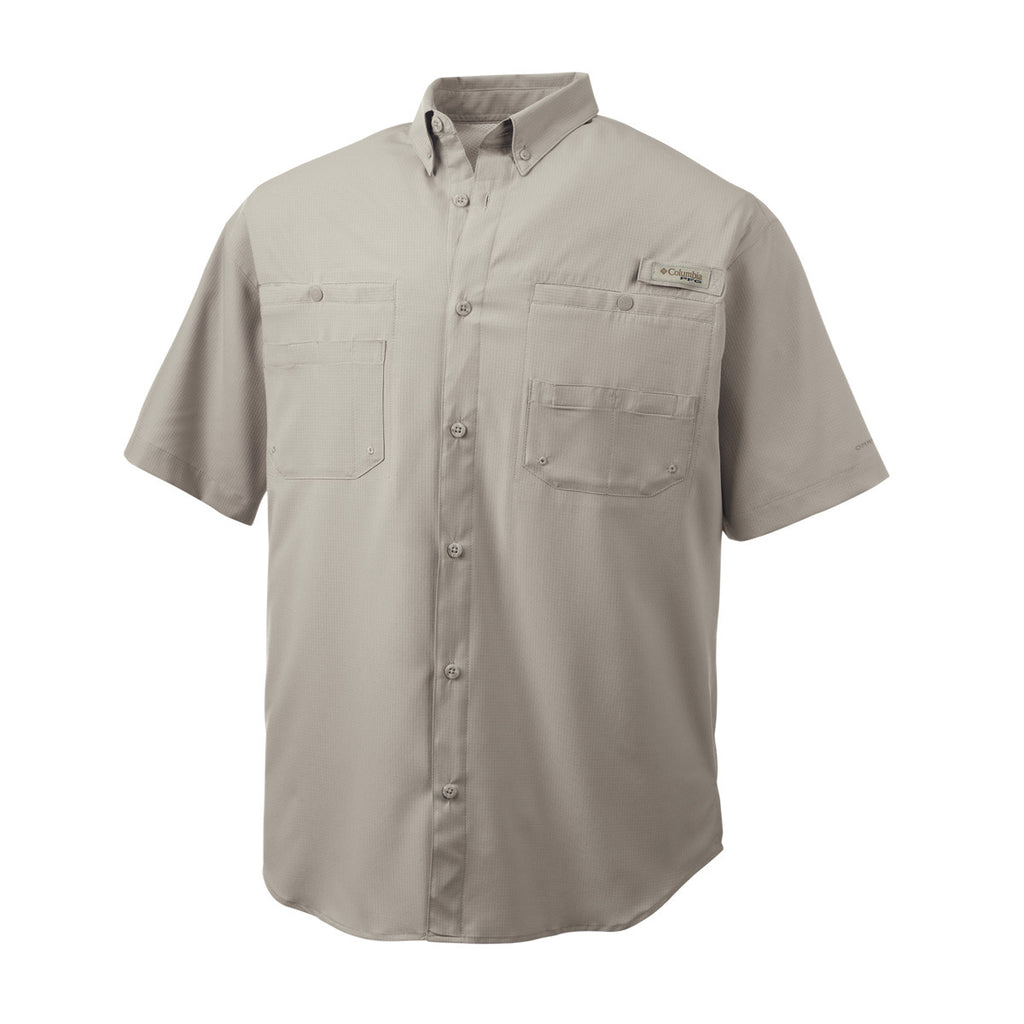 Columbia men 39 s fossil beige tamiami ii s s shirt for Embroidered columbia fishing shirts