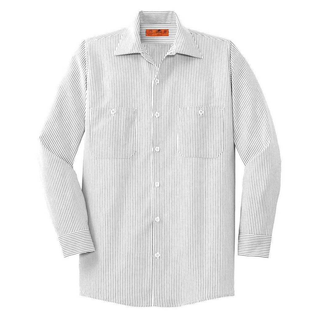 d05bac334 Red Kap Men's Tall Grey/White Long Size Striped Industrial Work Shirt. ADD  YOUR LOGO