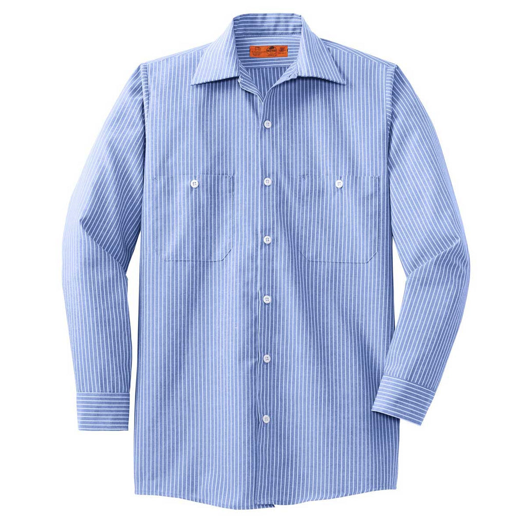 1ee0c1f55 Red Kap Men's Blue/White Long Sleeve Striped Industrial Work Shirt. ADD  YOUR LOGO