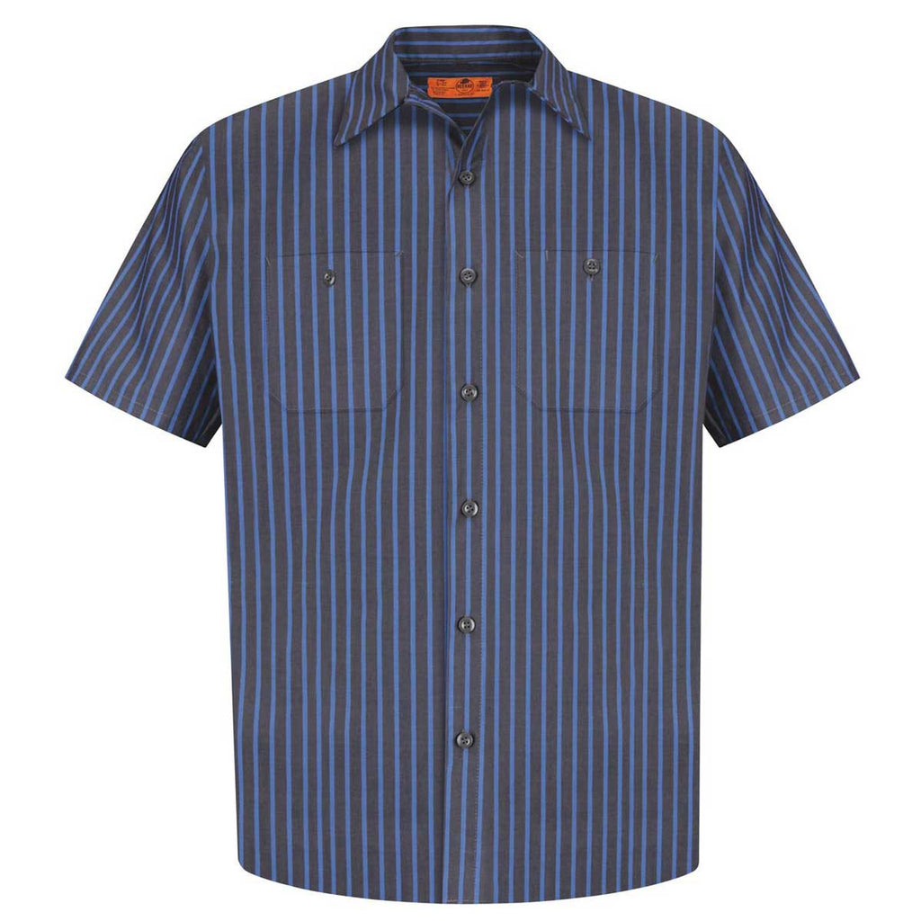 Red kap men 39 s tall grey blue short sleeve striped for Red kap mechanic shirts