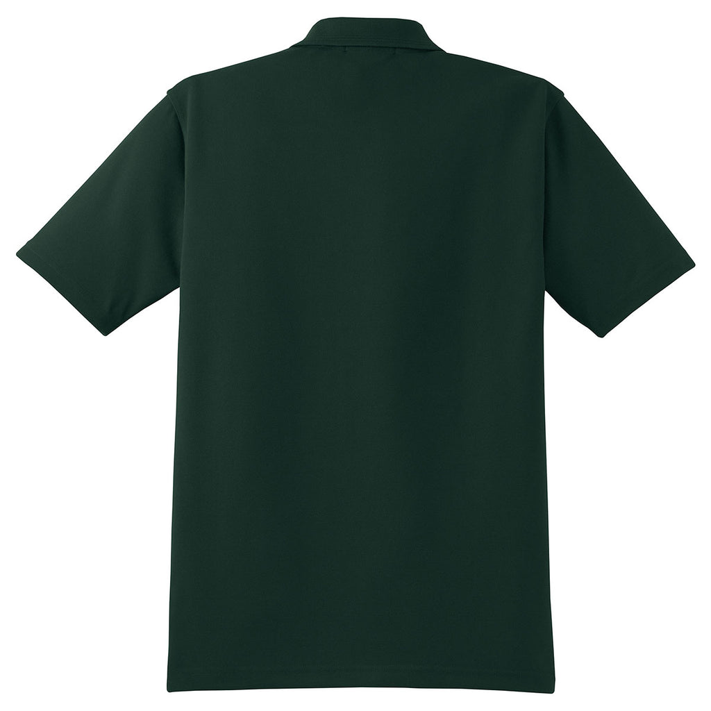 Cornerstone Men's Dark Green Industrial Pique Polo
