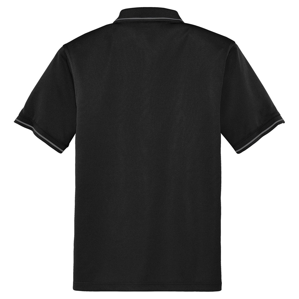 Cornerstone Men's Black/Smoke Grey Select Snag-Proof Tipped Pocket Polo