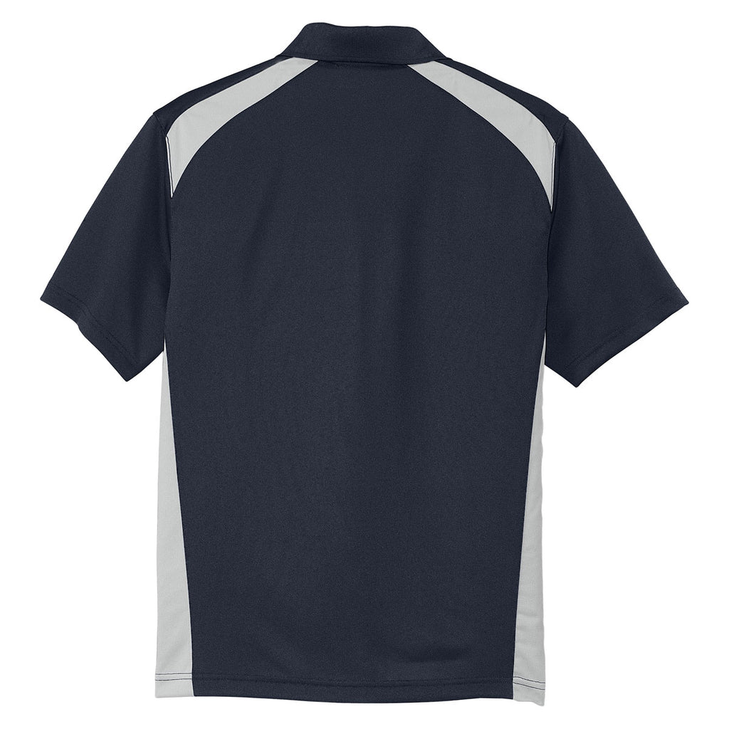 Cornerstone Men's Dark Navy/Light Grey Select Snag-Proof Two Way Colorblock Pocket Polo