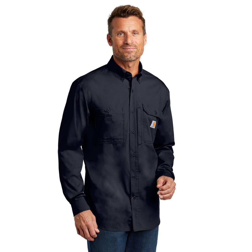 Carhartt Men's Navy Force Ridgefield Solid Long Sleeve Shirt