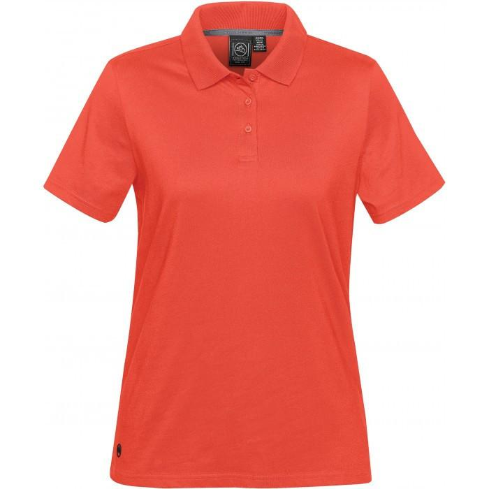 9c891469 Stormtech Women's Hot Red Oasis Liquid Cotton Polo. ADD YOUR LOGO