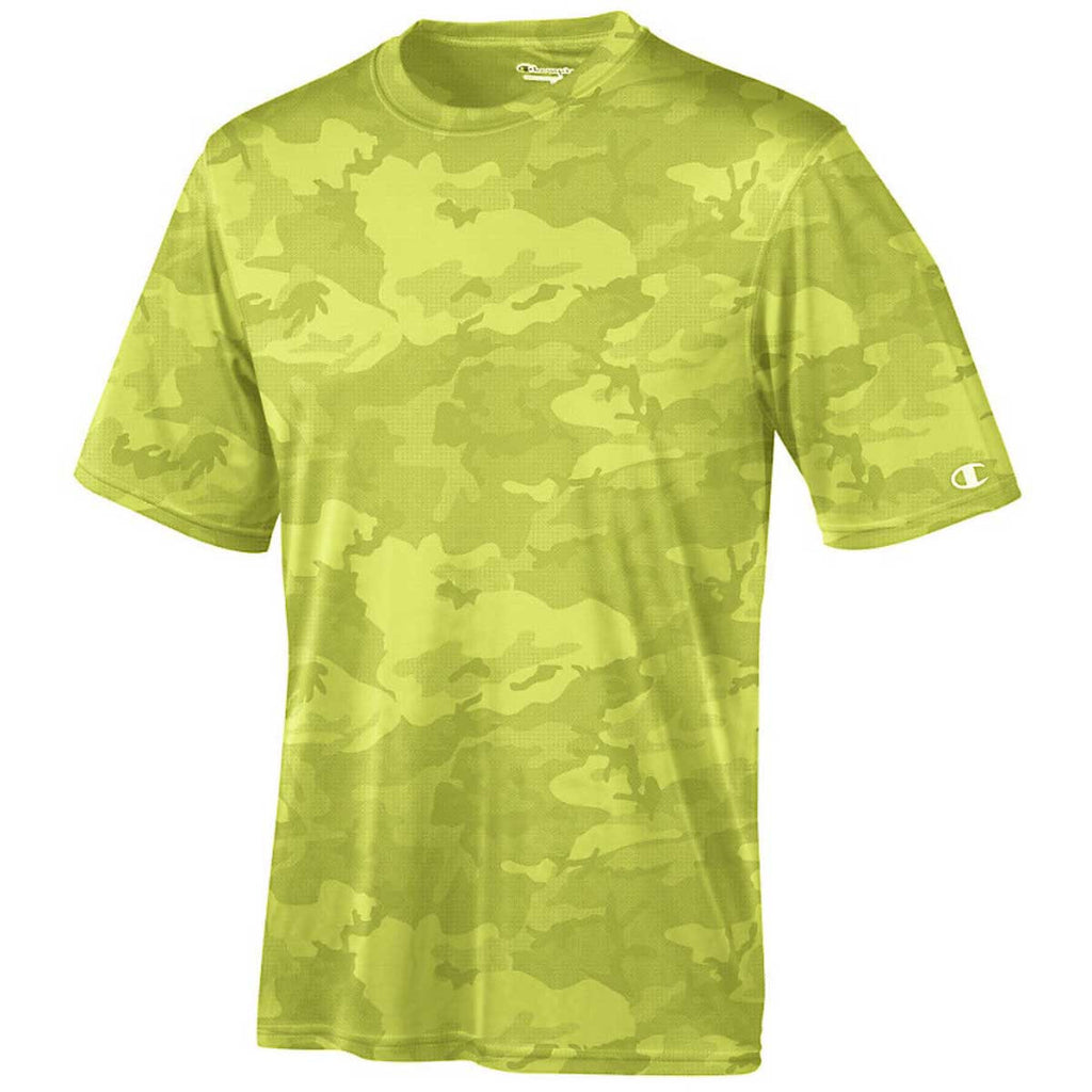 06872db92 Champion Men's Safety Green Camo Double Dry 4.1-Ounce Interlock T-Shirt.  ADD YOUR LOGO