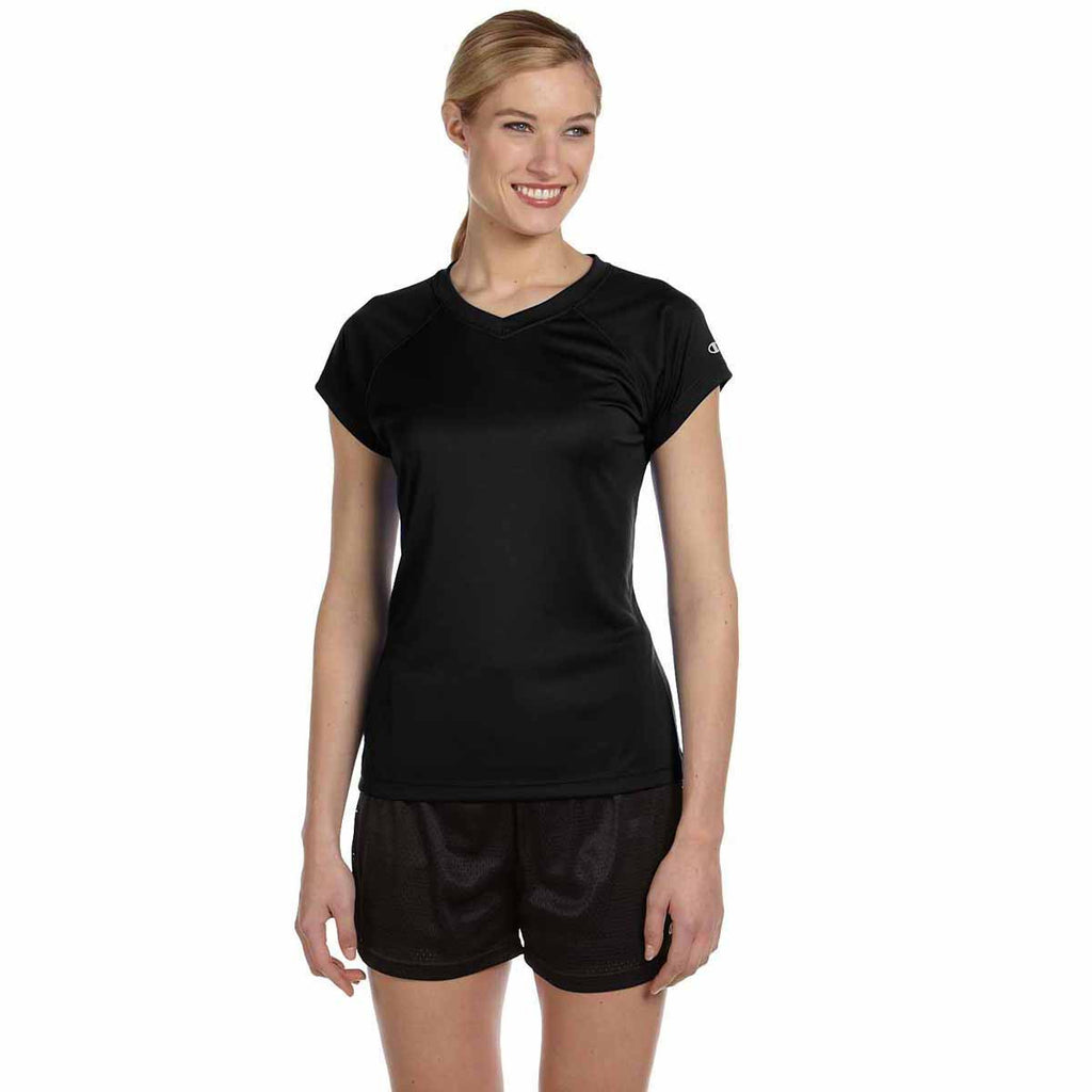 Champion Women's Black Double Dry 4.1-Ounce V-Neck T-Shirt