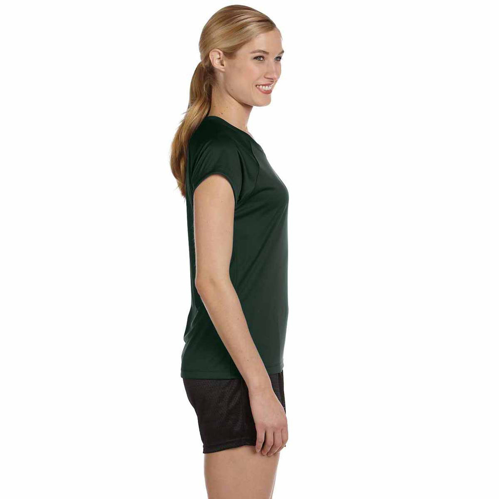 Champion Women's Dark Green Double Dry 4.1-Ounce V-Neck T-Shirt