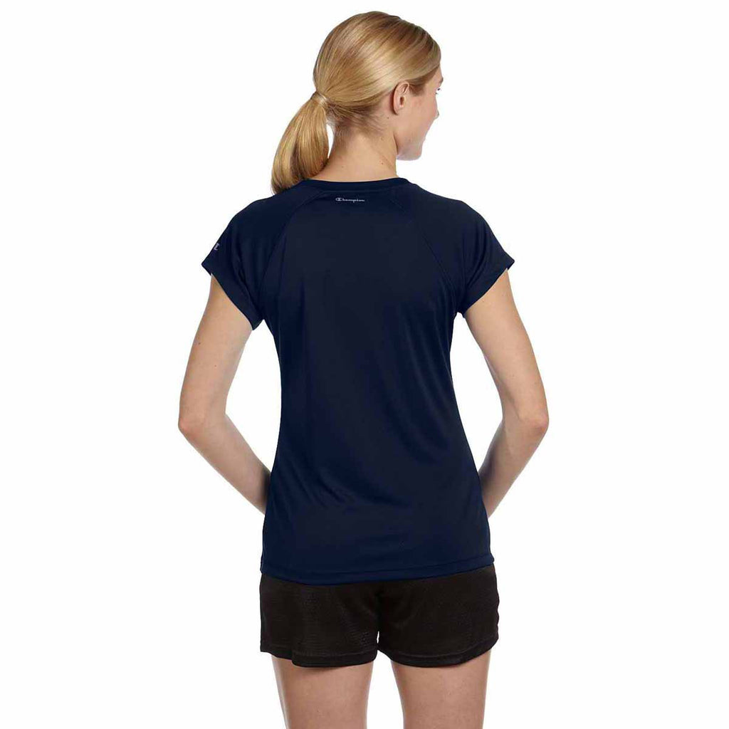 Champion Women's Navy Double Dry 4.1-Ounce V-Neck T-Shirt