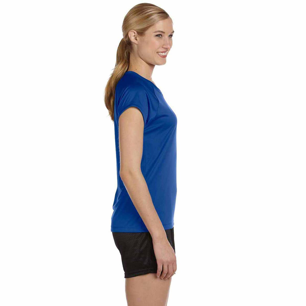 Champion Women's Royal Blue Double Dry 4.1-Ounce V-Neck T-Shirt