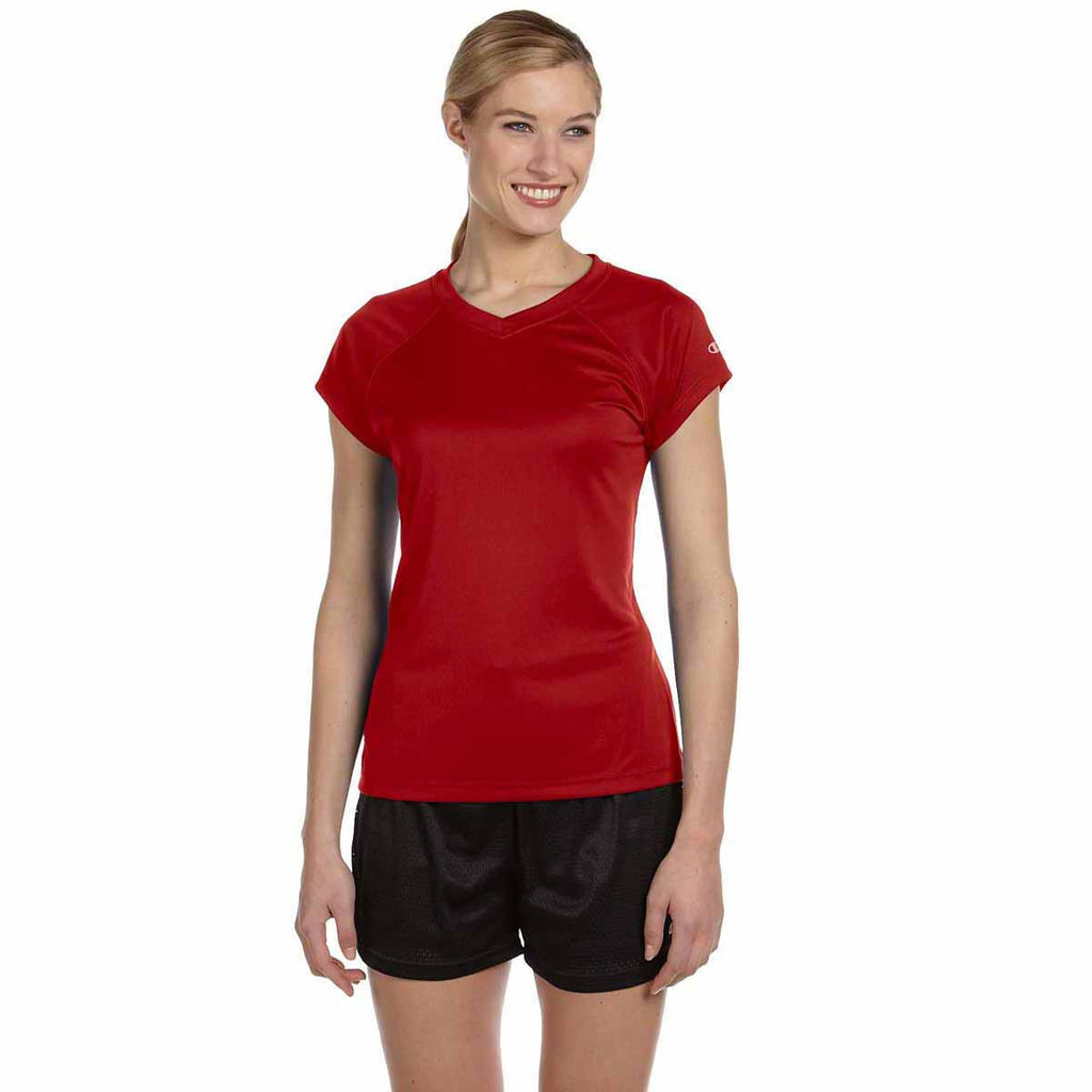 Champion Women's Scarlet Double Dry 4.1-Ounce V-Neck T-Shirt